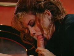 Brunette sexy MILF plays with huge cocks. Tasty video