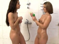 Dude drills young teen pussies in the shower in hot cfnm group fuck