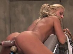 Super hot blonde slut gets her slot machine slammed as her aching clit is vibed