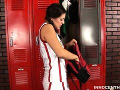 Cute pigtailed girl gets fucked hard by the coach in the locker room