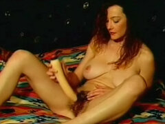 Retro sex with hairy girl and her big tits