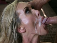 Brandi Love have cum facial and sip cum from hard dick