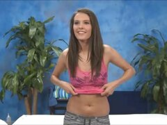 Cute 18 year old massage therapist Erin Stone gives a little more than a massage!