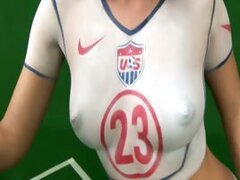 Fantastic black-haired babe Roxy Panther has painted the colours of the team of the USA on her tight naked body...
