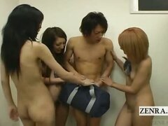 Subtitled group of Japan student nudists in locker room