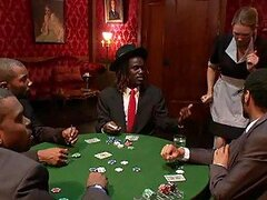 Poker Players Bang the Club's Waitress