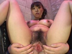 Beautiful hairy box on sultry Japanese girl