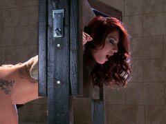 Awesome redhead Mischa Brooks gets her butt hole dildofucked