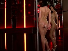 Long-legs Bambi's first striptease audition ends with masturbation