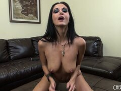 Busty brunette Ava Addams shows her body and toys her wet pussy