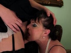 Mature chick and the maid have lesbian sex