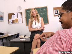 Hot blonde teacher Julia Ann seduces her student...