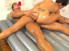 Foxy brunette erotic massage and handjob at the end