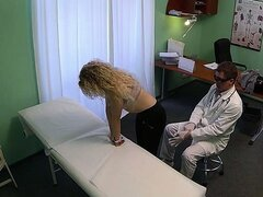 Beautiful blonde patient sucks and fucks doctors big cock