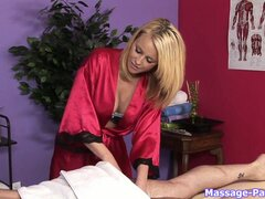 Blonde masseuse slut to a very lucky costumer