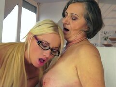 Old and young lesbians are licking pussies