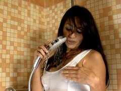 Horny babes masturbating in the shower