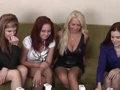 Four beautiful babes play strip dominoes