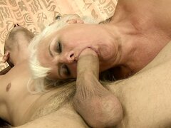 Thick blonde hoochie mama gets fucked hard by a young stud's cock