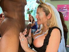 A filthy blonde bride can't live without a bit of black cock in her gob