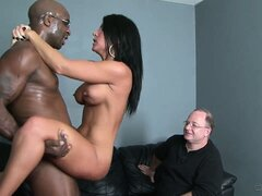 Hot wife with great tits cuckolds her bald loser of a husband