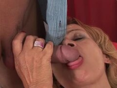 Slutty granny named Lady sucks and rides Steve Q's cock