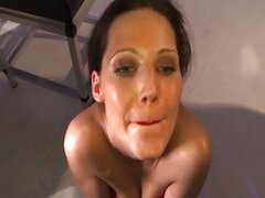 Bukkake german slut suck and fuck cum facials