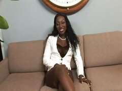 A lush older ebony lady is ordered to strip and fuck a younger white guy