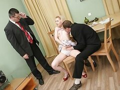 Sheyla tried to pass her exam and it was not like she imagined. Old teacher and his perverted assistant sticked their poles in tight holes of their coed.