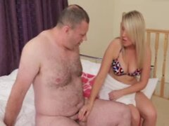 Blond dominant makes fun of guys dick