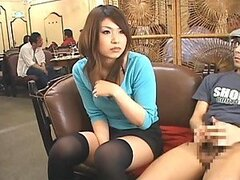 Before Giving a Handjob in a Restaurant The Asian Chick Sings a Contract