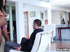 Exceptionally beautiful brunette Anissa Kate sits on the Mr