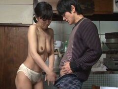 Asian Housewife Sumika Nanjitori Giving a Blowjob in the Kitchen