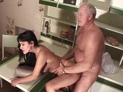 Horny old man sucks Brazilians large tits