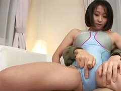 Horny Yuki Mitsui sitting in her friends lap has her pussy fingered before her hairy pussy is filled with dick