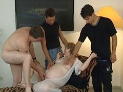 Chubby mature blonde bitch takes on three young cocks and gets nailed
