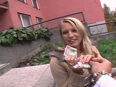 Beautiful Blonde Babe Gives Blowjob Outdoors For Money