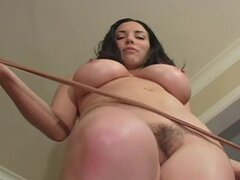 Brunette with big tits in naughty solo