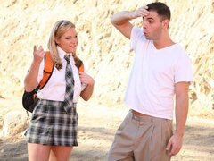 A doll in her school uniform shows she's well frisky as she shags her classmate