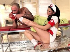 Leggy nurse gets a patient hard and ready with her little feet