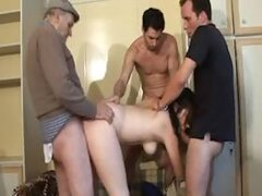 Slutty wife takes three cocks
