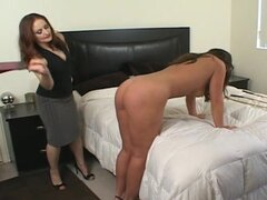 Hot brunette spanking her cute sister with whip