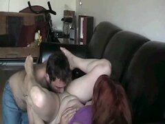 licking her pussy on sofa