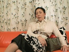 Naughty japanese broad shows off her curvy body in an interview