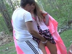 Students fuck in the woods
