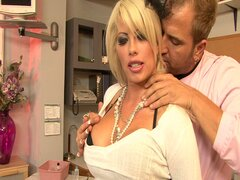 Massive tits blonde librarian opens wide to welcome huge cock