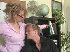 Mature office boss loves sucking young cock