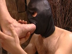 Slave licks his master's foot and gets played in the ass