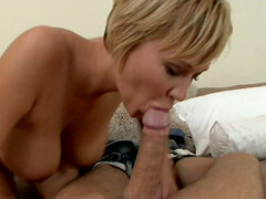 Fab bitch Carly Parker gives blowjob and then rides polished pole