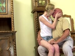 Cute Skinny Blonde Teen Fucks Old Man